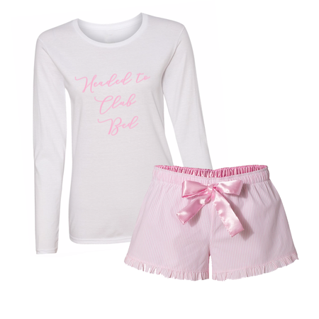 Custom Text Pink PJ Romper