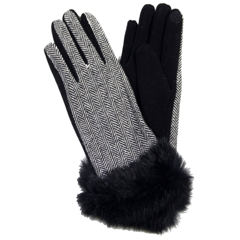 Houndstooth Black and White Gloves with Black Faux Fur Trim