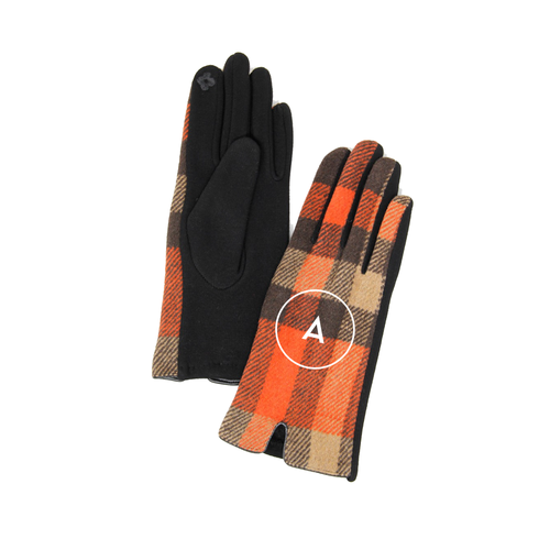 Monogrammed Orange and Tan Plaid Gloves