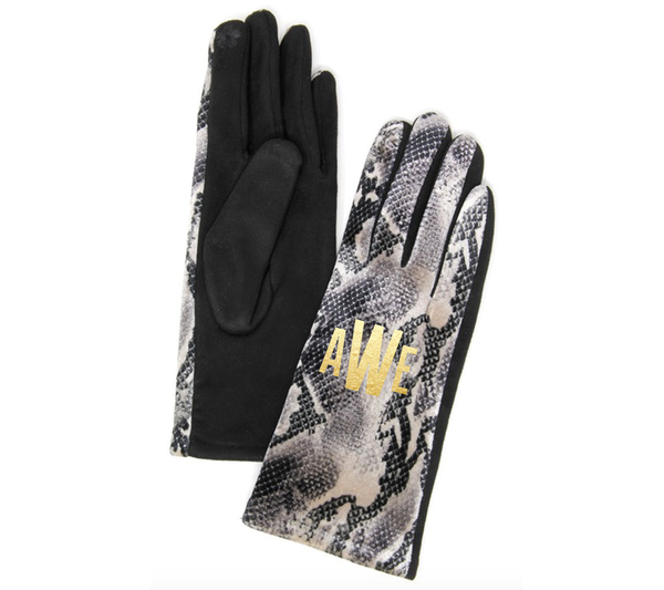 Monogrammed Animal Print Gloves
