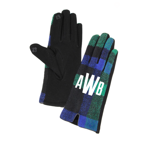 Monogrammed Blue and Green Plaid Gloves