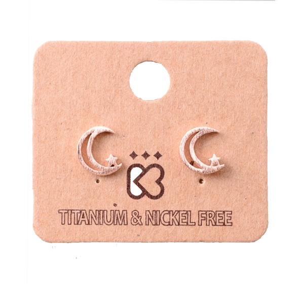 Moon and Stars Rose Gold Stud Earrings