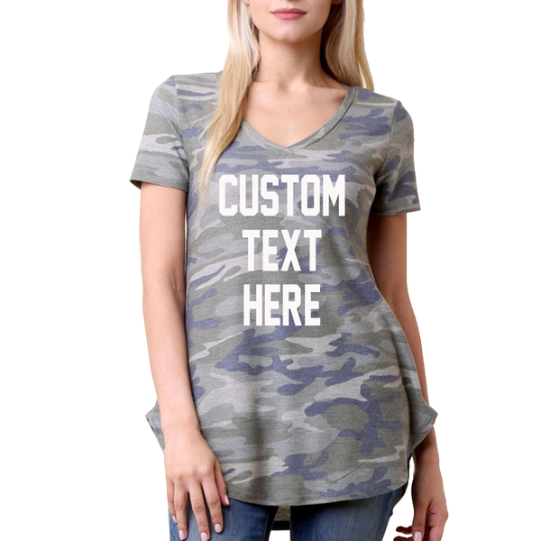 Custom Text Camo V-neck T-Shirt
