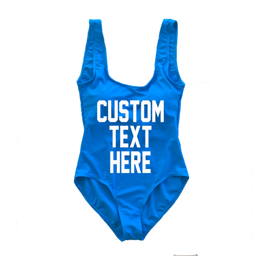 Custom Text Bright Blue One Piece Swimsuit