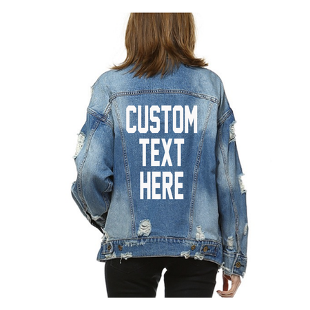 Custom Text Embroidered Distressed Denim Jacket- Womens Personalized Embroidery Jacket- Bride Bachelorette Business Logo Text Jean Jacket