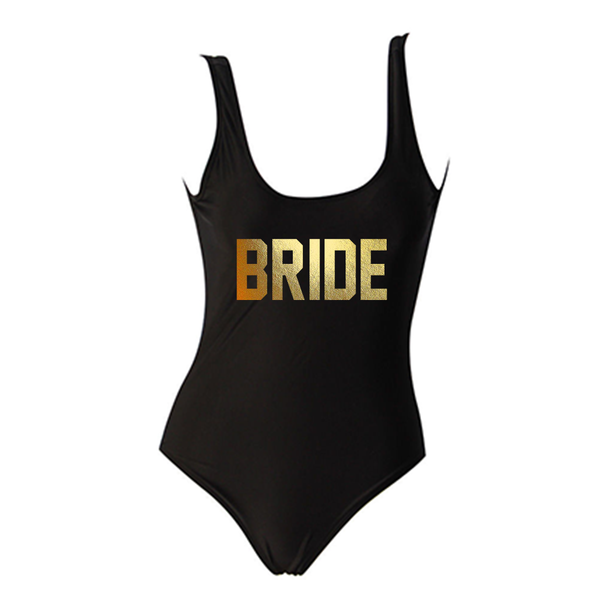 Bride Black One Piece Swimsuit