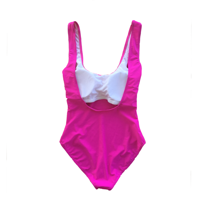 Custom Text Bright Pink One Piece Swimsuit