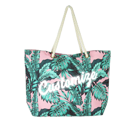 Custom Pink Palm Leaf Print Clutch Bag