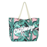 Custom Pink Palm Leaf Print Large Tote Bag