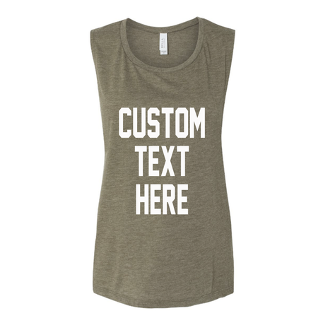 Custom Text Peach Muscle Tank Top