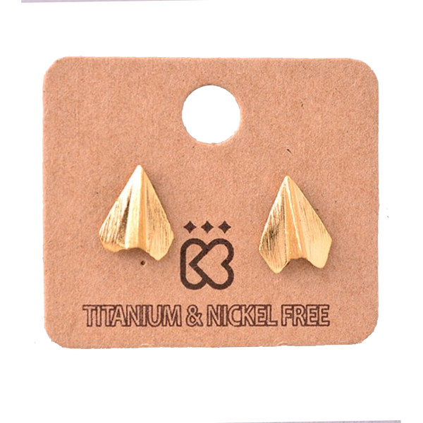Paper Airplane Gold Stud Earrings