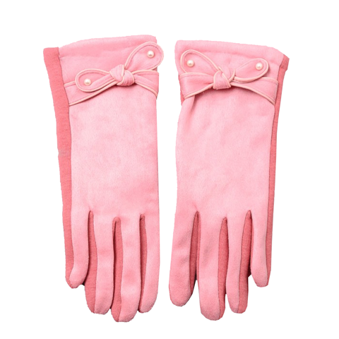 Pink Pearl Ribbon Velvet Trim Gloves