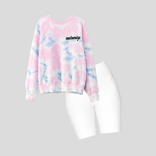 Tie Dye Sweatshirt and White Biker Shorts Set