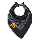 Black Bandana Neck Scarf with Pizza Embroidered Patch