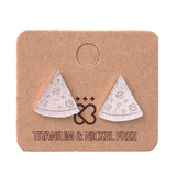 Pizza Rose Gold and Silver Stud Earrings