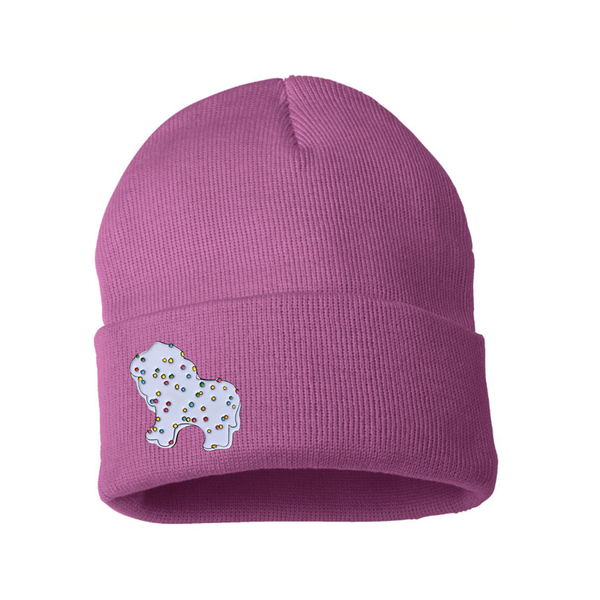 Frosted Circus Animal Cookie Pin on Pastel Beanie