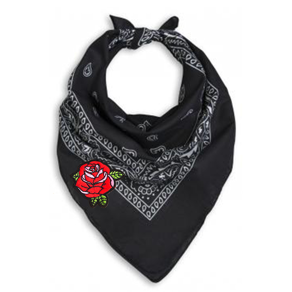 Black Bandana Neck Scarf with Red Rose Embroidered Patch