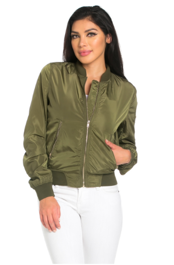 how to choose hot-selling lowest price Custom Text Womens Olive Green Bomber Jacket