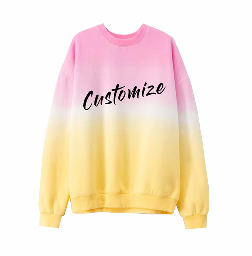 Custom Text Ombre Pink Yellow Tie Dye Sweatshirt
