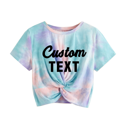 Custom Text Pastel Tie Dye Twist Front Shirt