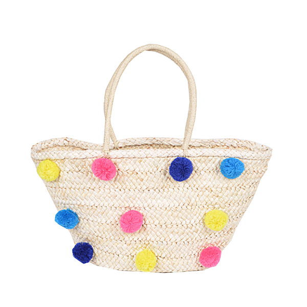 Straw Colorful Pom Pom Beach Bag