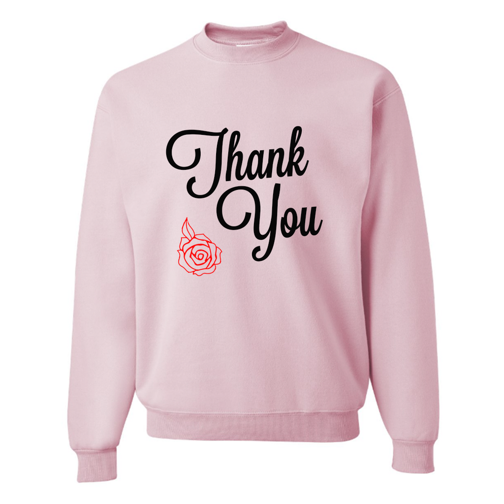 Thank You Pink Slouchy Pullover Sweatshirt