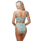 Custom Text Palm Leaf High Waisted Bikini Swimsuit