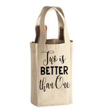 Two is Better than One Canvas Natural Wine Tote