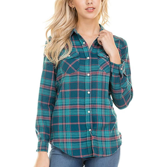 Custom Text Teal Green and Blue Plaid Shirt