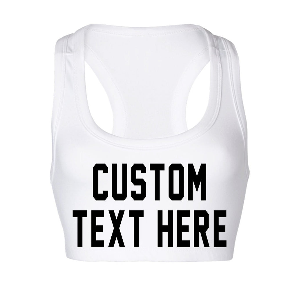 Custom Text White Sports Bra