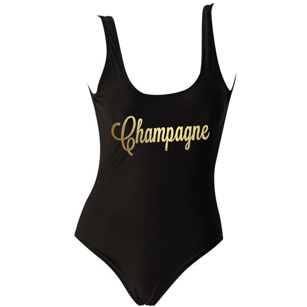 Champagne Black One Piece Swimsuit