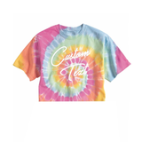 Custom Text Pink Multicolor Tie Dye Crop Top Shirt