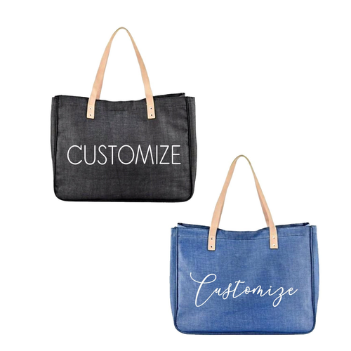 CUSTOM TEXT Large Canvas Tote Denim Beach Bag- Design Your Own Jumbo Bag- Bridesmaids Canvas Denim Bag with Leather Strap - Bachelorette Bag