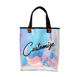 CUSTOM TEXT Large Clear Holographic Tote Bag- Black Top Handle See Through Bag- Customize Bachelorette Beach Bag Clear Tote Waterproof Large