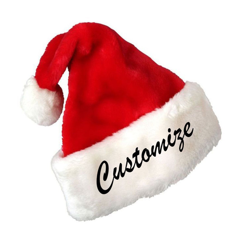 Custom Text Embroidery Name or Personalization Red Plush Santa Hat- Custom Santa hat- Funny Gift for Christmas- Embroidered Santa hat