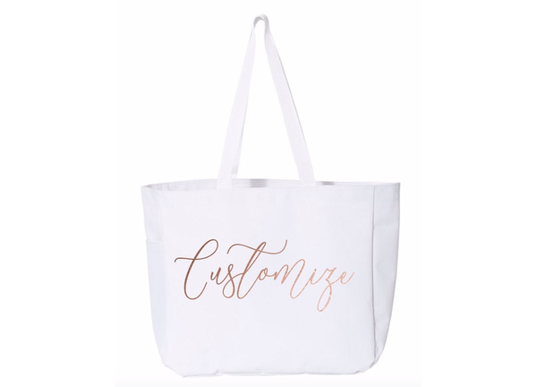 Custom Text Large Canvas Tote Bag