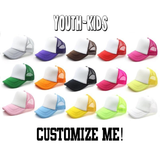 CUSTOM TEXT Youth and Kids Five Panel Foam and Mesh Trucker Hat- Youth Custom Headwear- Multi Color Kids Trucker Hats- Unisex Adjustable