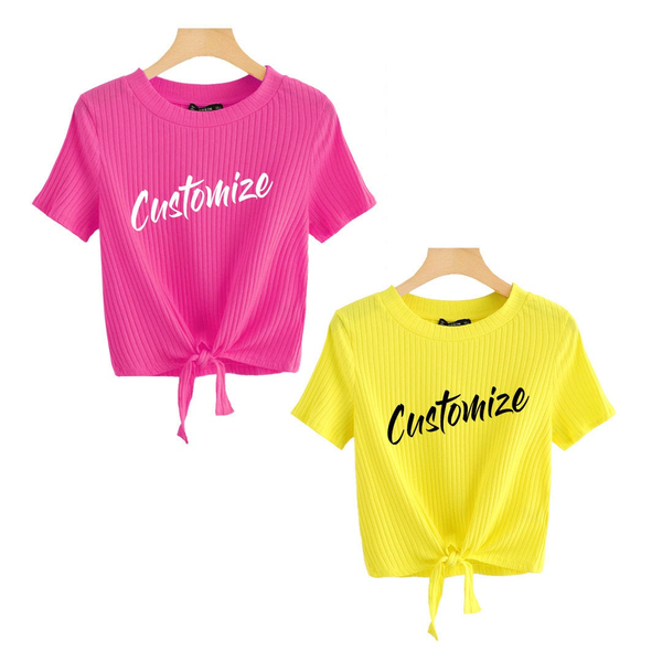 CUSTOM TEXTBright Yellow and Pink Tie Front Crop Top Short Sleeve Shirt- Customize Bright Knot Front Trendy Top- Hot Pink Tie T-shirt Spring