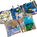 CUSTOM TEXT Large Clear Holographic Tote Bag Long Top Handle See Through Bag Customize Bachelorette Beach Bag Clear Waterproof Large Bag