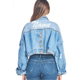 Custom Name or Text Vintage Inspired Crop Oversized Distressed Denim Jacket- Premium Denim Jacket with Customized Name or Text