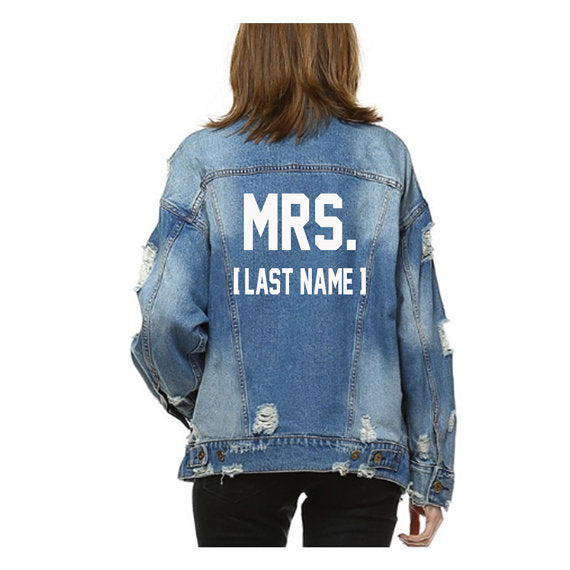 Mrs. Text Mid-Wash Denim Jacket
