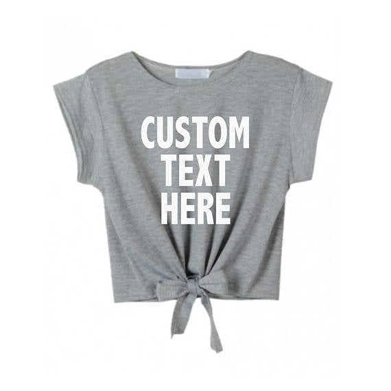 Custom Text Tie Front Crop Top T-shirt