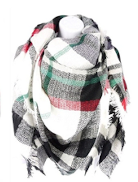 Many Colors Checkered Plaid Fringe Oversized Scarf