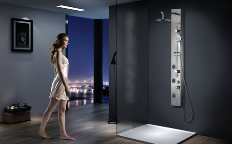 Vantory Shower Panel System Real #304 Stainless Steel Wall Mount,Rainfall,Multi-functional Massages Spray Jets,with 3-Function Hand Shower,Adjustable sliding pole - VANTORY - THE REAL TASTE OF BATHING