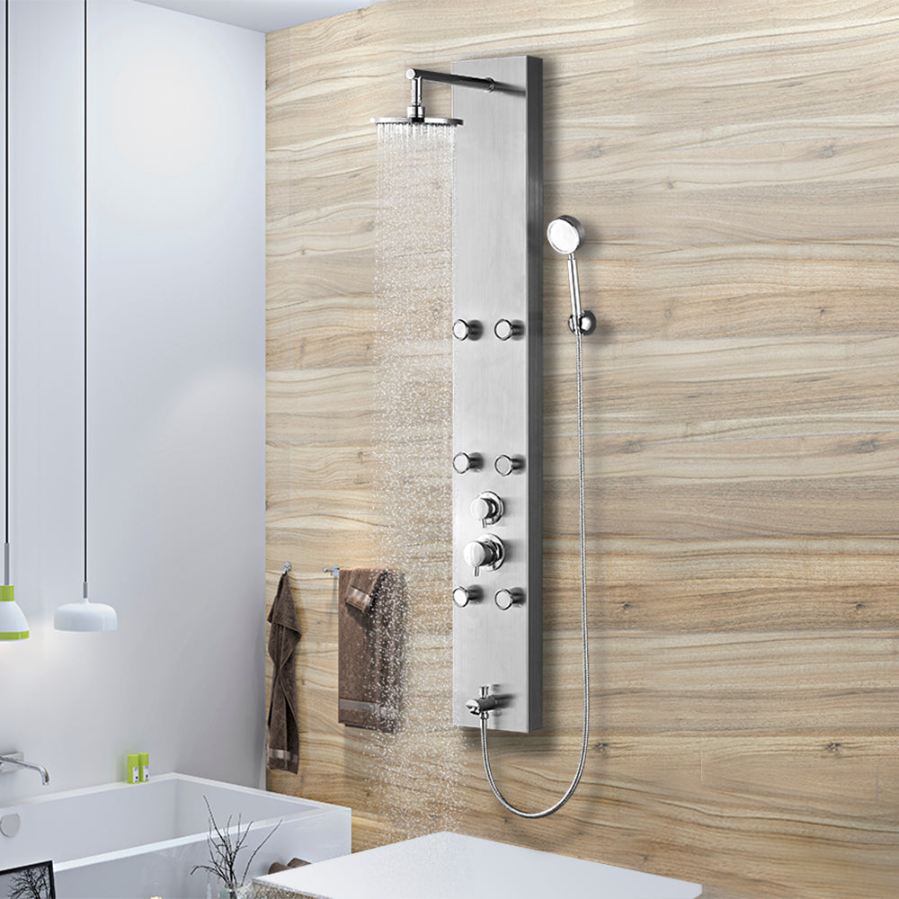 Vantory Shower Panel System Stainless Steel Rainfall with 6 Adjustable Spray Massages Jets,Hand Shower and Tub Spout,Brushed Nickel - VANTORY - THE REAL TASTE OF BATHING