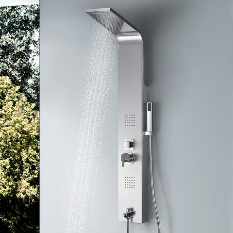 Vantory Shower Panel Tower Massage System Column Head SUS #304 Stainless Steel Multi-Function with Rainfall Waterfall Body Jets,Tub Spout, Brushed Nickel - VANTORY - THE REAL TASTE OF BATHING