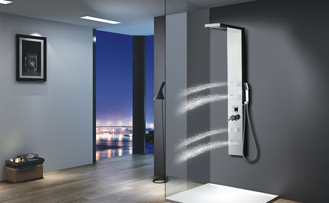 "Vantory Stainless Steel Shower Panel Tower System,8K Mirror Rainfall Waterfall Shower Head Massage System with 8 Body Jets, Chrome Plated, cUPC Approved, 59"" VS158 - VANTORY - THE REAL TASTE OF BATHING"