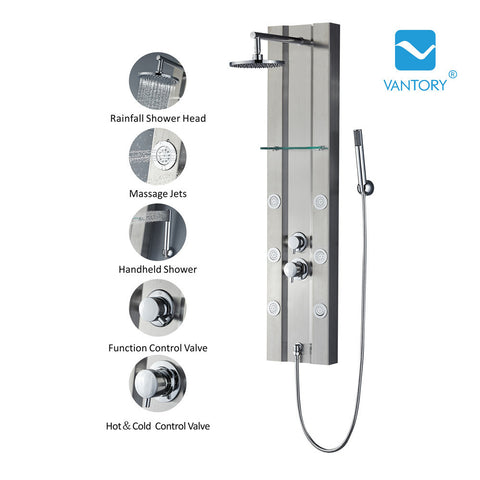 "Vantory VA001 49"" Stainless Steel Shower Panel - VANTORY - THE REAL TASTE OF BATHING"