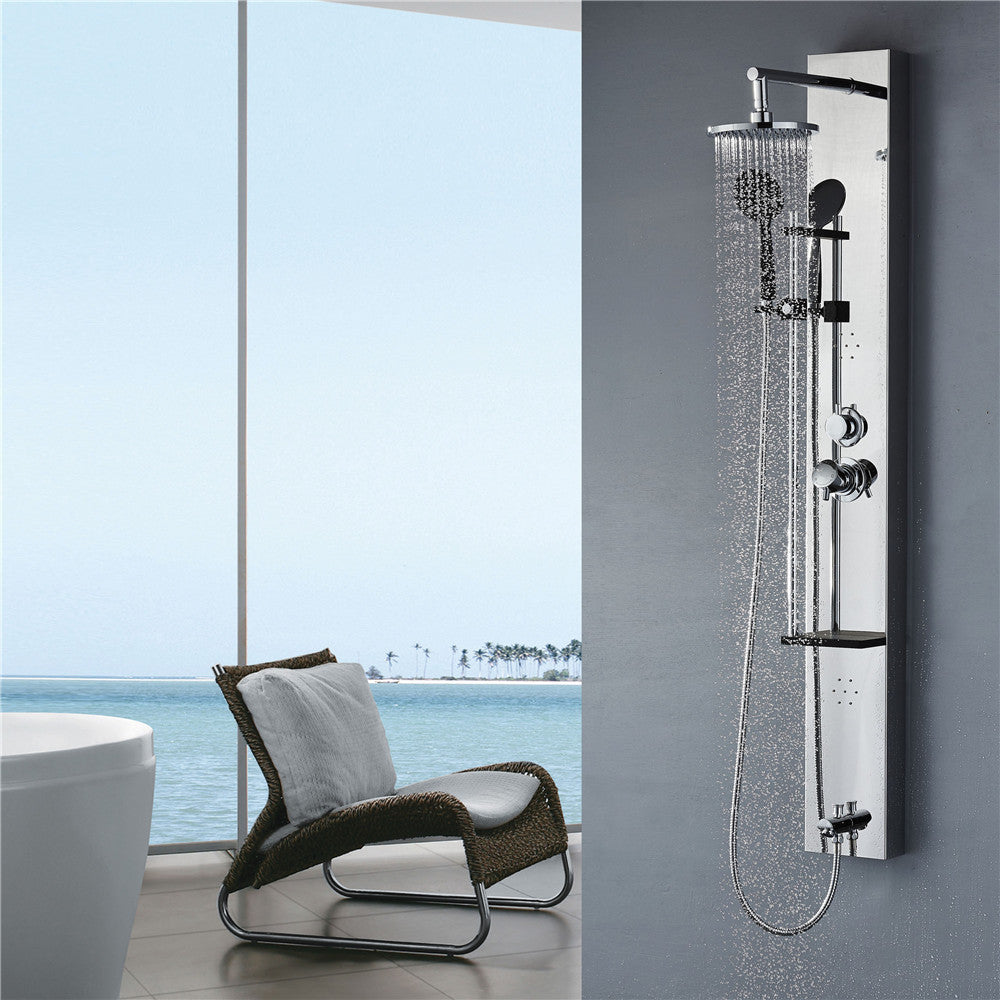 Vantory Shower Panel  Head Stainless Steel 8K Mirror Rainfall Massage System with Body Jets,Tub Spout,Shampoo Shaft,Chrome plated,cUPC Approved,59'' A155 - VANTORY - THE REAL TASTE OF BATHING