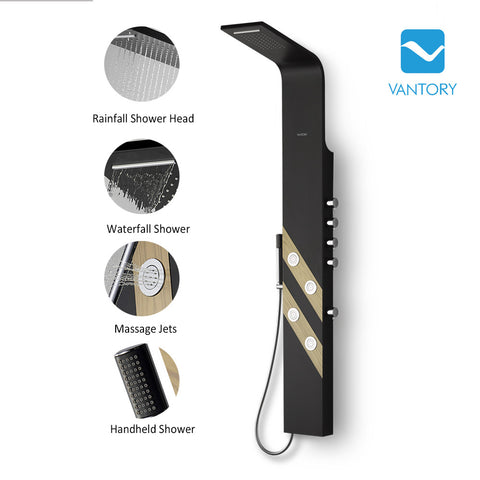 "Vantory 63"" Aluminum Black Finish Wall Mount Rainfall Waterfall Overhead Massage Spray Multi-Function Shower Panel - VANTORY - THE REAL TASTE OF BATHING"